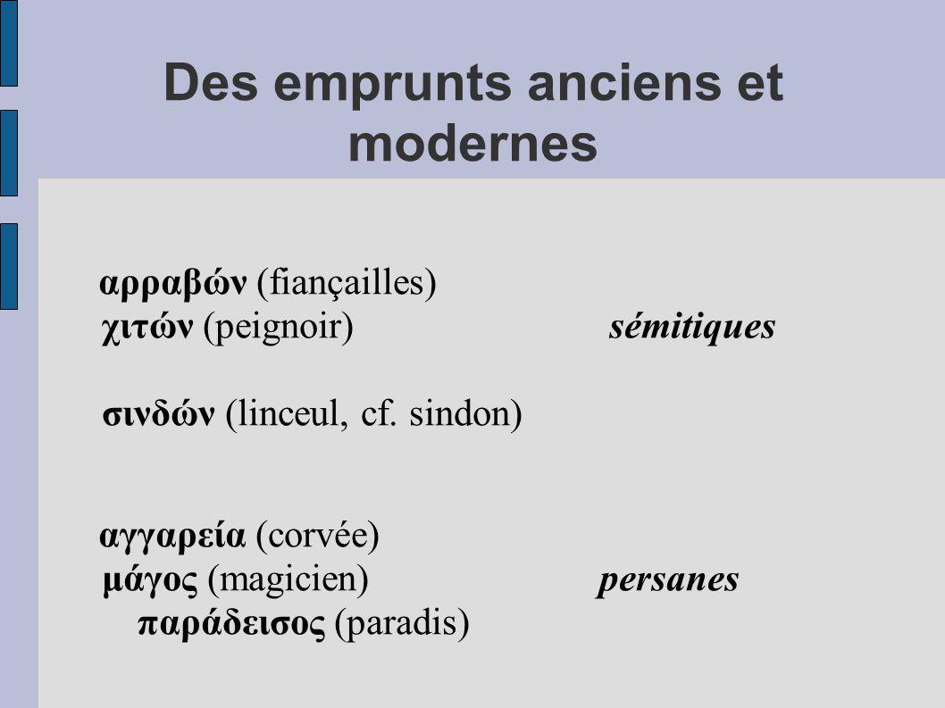 Des emprunts anciens et modernes αρραβών (fiançailles) χιτών (peignoir) sémitiques σινδών (linceul, cf.