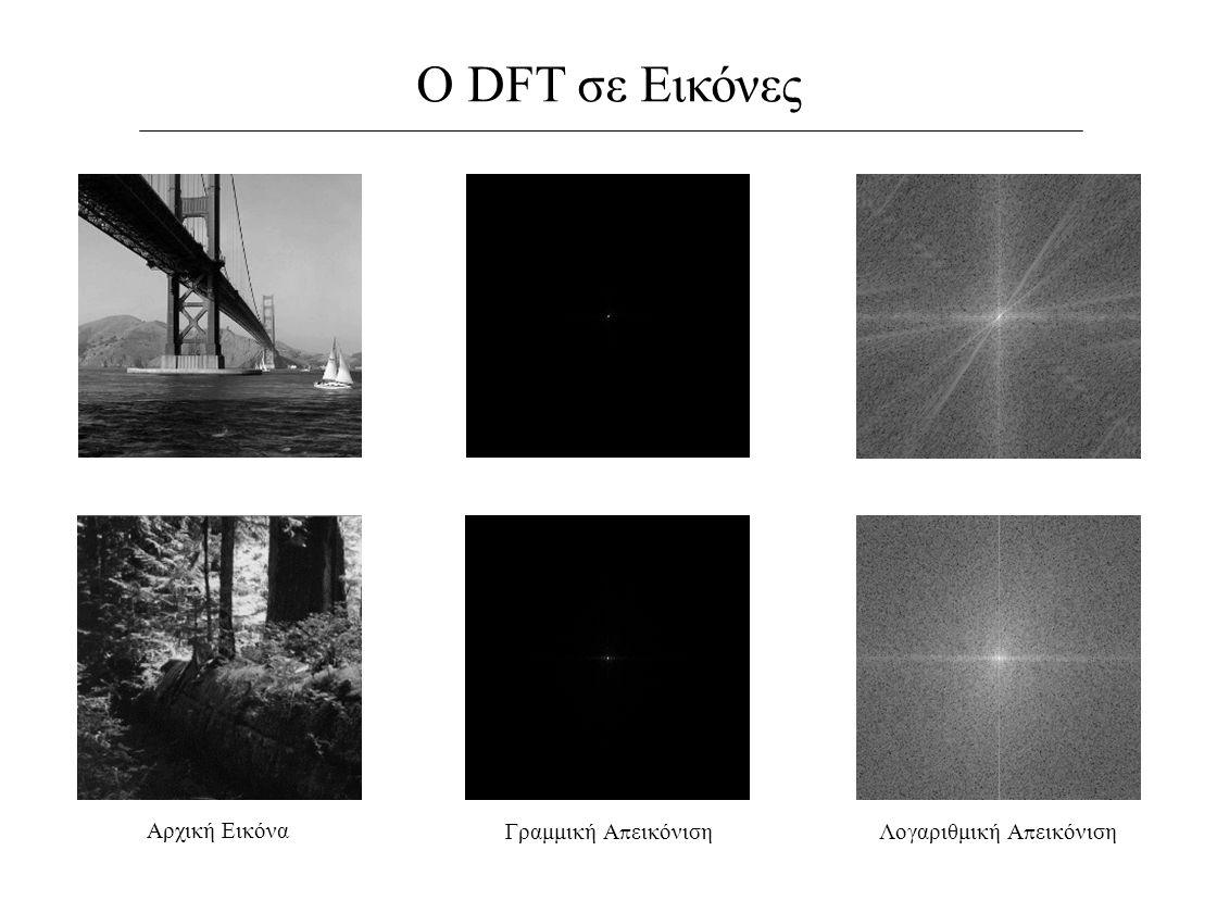 Ο DFT σε Εικόνες Αρχική Εικόνα Λογαριθμική Α π εικόνισηΓραμμική Α π εικόνιση