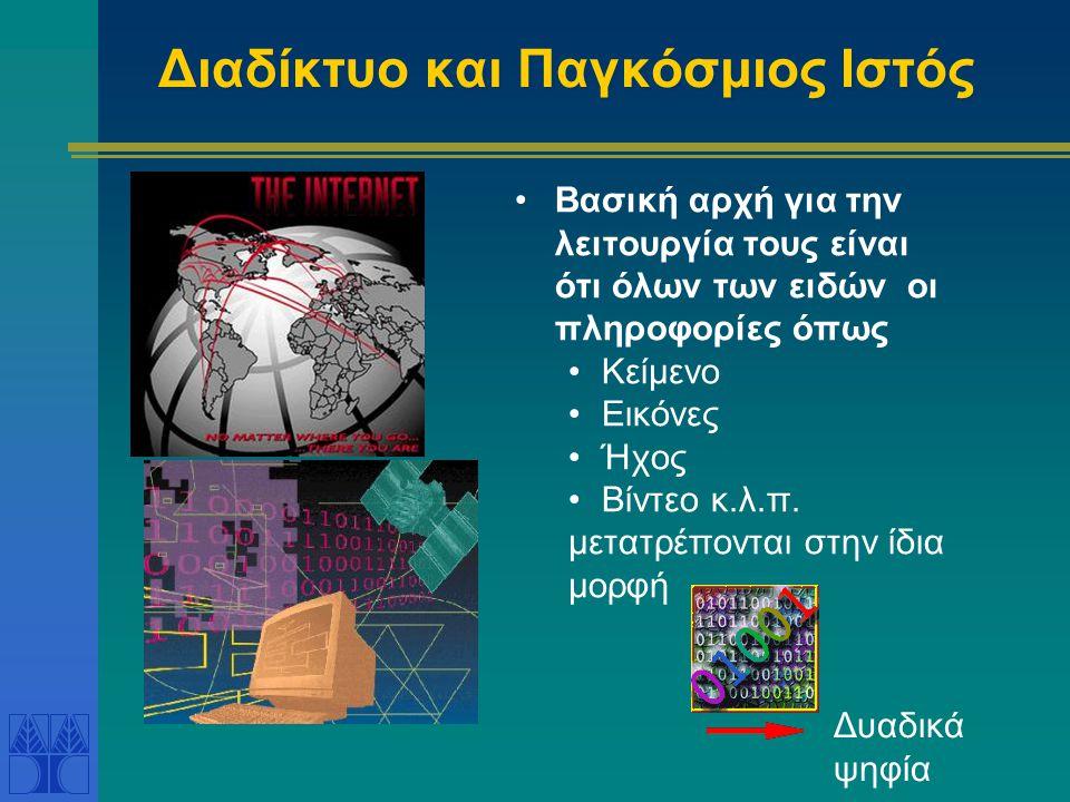 Διαδίκτυο και Παγκόσμιος Ιστός Βασική αρχή για την λειτουργία τους είναι ότι όλων των ειδών οι πληροφορίες όπως Κείμενο Εικόνες Ήχος Βίντεο κ.λ.π.