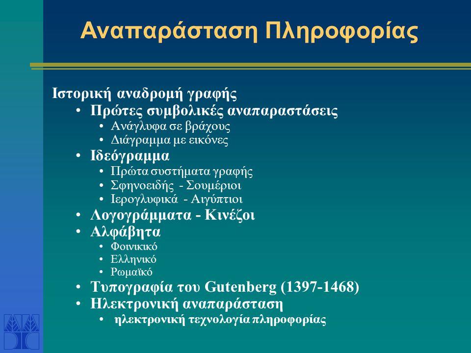 Αναπαράσταση Πληροφορίας Ιστορική αναδρομή γραφής Πρώτες συμβολικές αναπαραστάσεις Ανάγλυφα σε βράχους Διάγραμμα με εικόνες Ιδεόγραμμα Πρώτα συστήματα γραφής Σφηνοειδής - Σουμέριοι Ιερογλυφικά - Αιγύπτιοι Λογογράμματα - Κινέζοι Αλφάβητα Φοινικικό Ελληνικό Ρωμαϊκό Τυπογραφία του Gutenberg (1397-1468) Ηλεκτρονική αναπαράσταση ηλεκτρονική τεχνολογία πληροφορίας