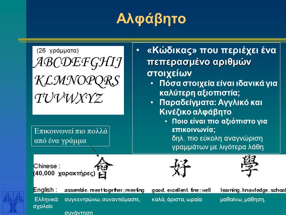 Αλφάβητο πεπερασμένο αριθμών«Κώδικας» που περιέχει ένα πεπερασμένο αριθμών στοιχείων Πόσα στοιχεία είναι ιδανικά για καλύτερη αξιοπιστία; Παραδείγματα: Αγγλικό και Κινέζικο αλφάβητο Ποιο είναι πιο αξιόπιστο για επικοινωνία; δηλ.