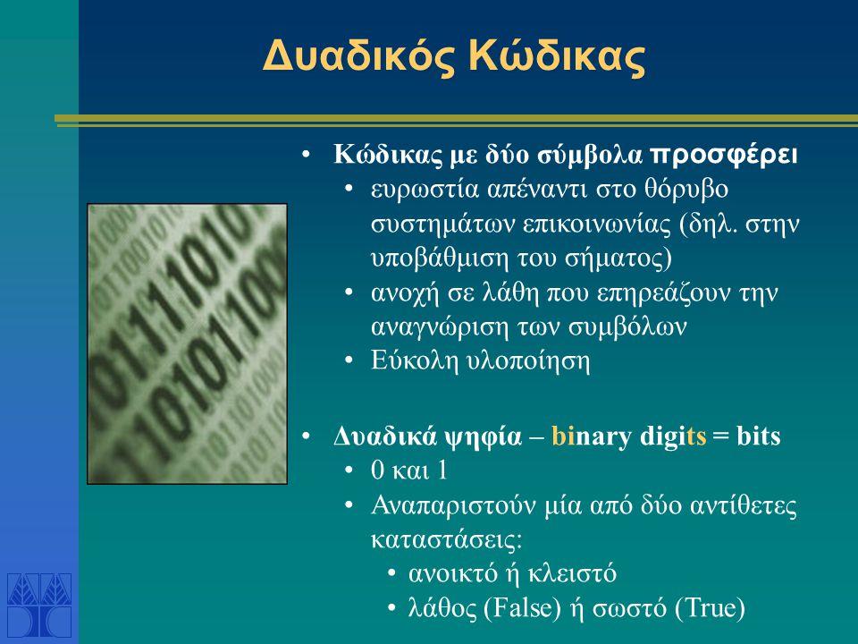 Δυαδικός Κώδικας Κώδικας με δύο σύμβολα προσφέρει ευρωστία απέναντι στο θόρυβο συστημάτων επικοινωνίας (δηλ.