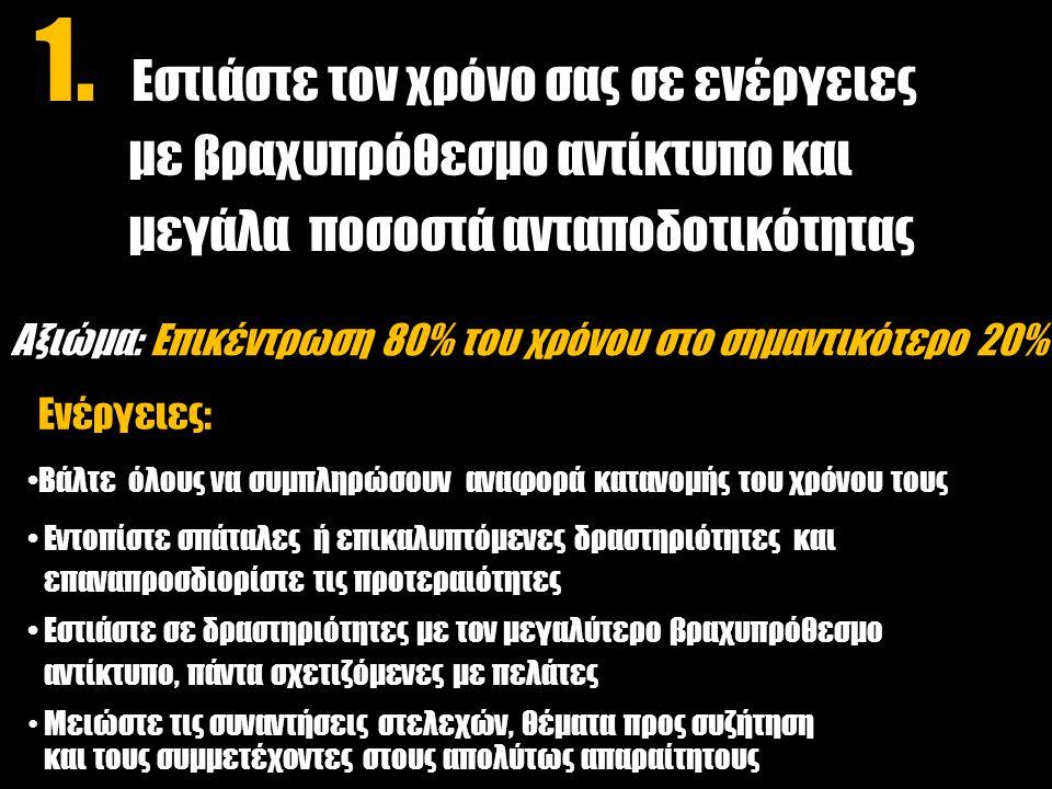 Αξιώμα: Επικέντρωση 80% του χρόνου στο σημαντικότερο 20% Ενέργειες: Βάλτε όλους να συμπληρώσουν αναφορά κατανομής του χρόνου τους Εντοπίστε σπάταλες ή