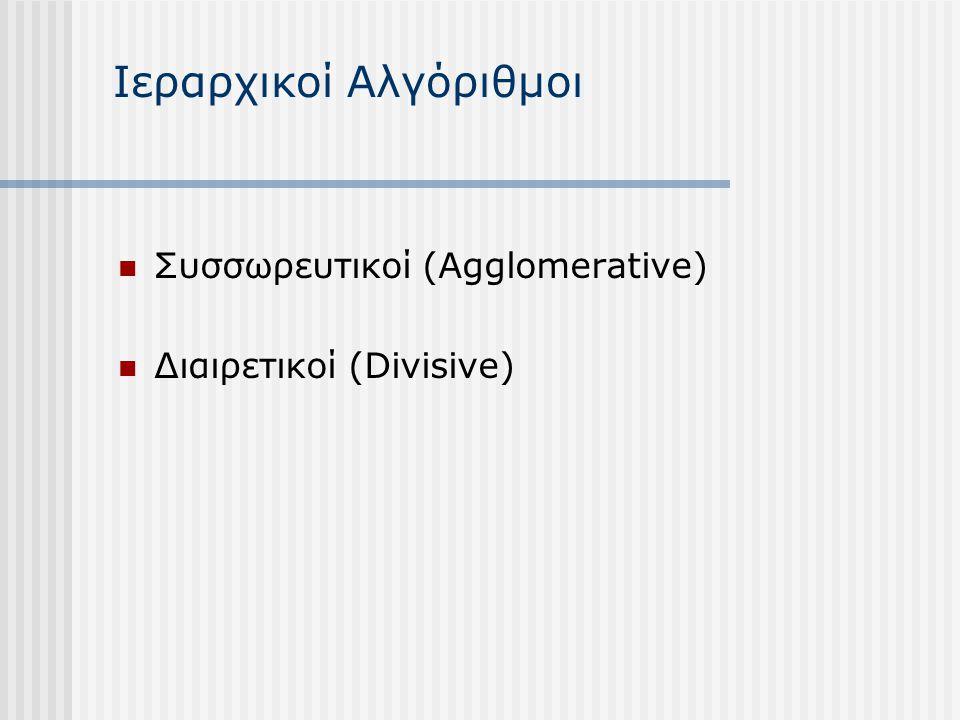 Ιεραρχικοί Αλγόριθμοι Συσσωρευτικοί (Agglomerative) Διαιρετικοί (Divisive)