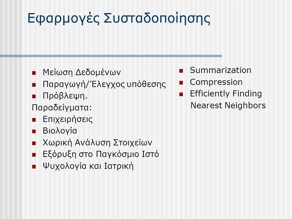 Εφαρμογές Συσταδοποίησης Μείωση Δεδομένων Παραγωγή/'Ελεγχος υπόθεσης Πρόβλεψη. Παραδείγματα: Επιχειρήσεις Βιολογία Χωρική Ανάλυση Στοιχείων Εξόρυξη στ