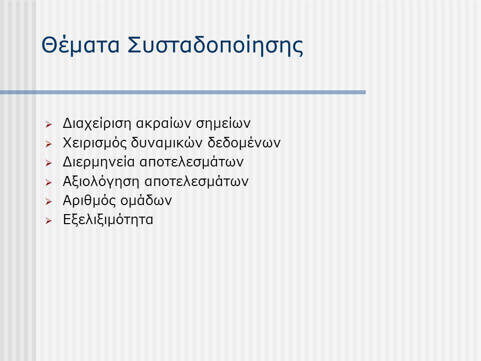 Θέματα Συσταδοποίησης  Διαχείριση ακραίων σημείων  Χειρισμός δυναμικών δεδομένων  Διερμηνεία αποτελεσμάτων  Αξιολόγηση αποτελεσμάτων  Αριθμός ομά