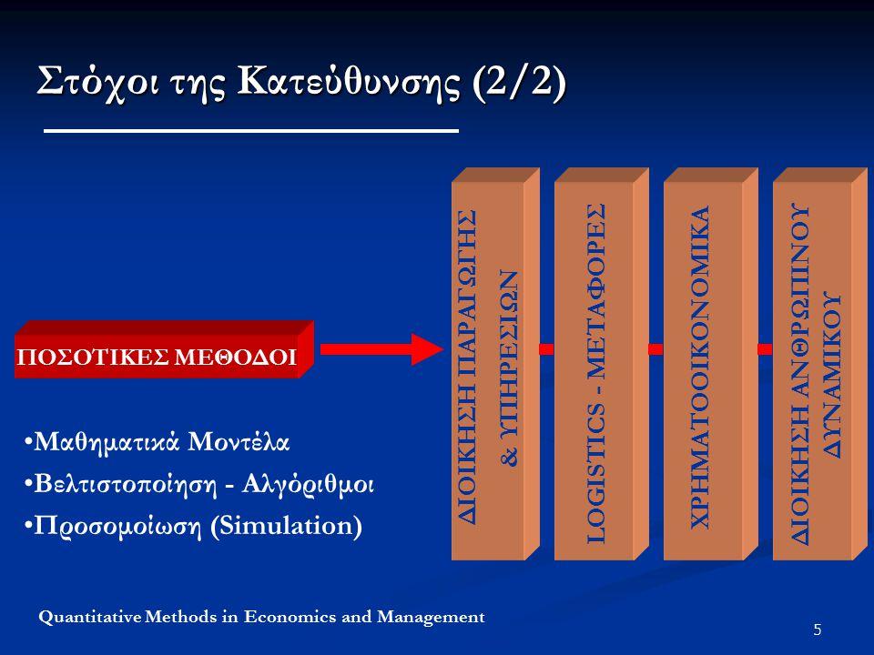 5 Quantitative Methods in Economics and Management Στόχοι της Κατεύθυνσης (2/2) ΠΟΣΟΤΙΚΕΣ ΜΕΘΟΔΟΙ ΧΡΗΜΑΤΟΙΚΟΝΟΜΙΚΑ ΠΡΟΓΡΑΜΜΑΤΙΣΜΟΣ ΠΑΡΑΓΩΓΗΣ LOGISTICS - MΕΤΑΦΟΡΕΣ ΧΡΗΜΑΤΟΟΙΚΟΝΟΜΙΚΑ ΔΙΟΙΚΗΣΗ ΠΑΡΑΓΩΓΗΣ & ΥΠΗΡΕΣΙΩΝ ΔΙΟΙΚΗΣΗ ΑΝΘΡΩΠΙΝΟΥ ΔΥΝΑΜΙΚΟΥ Μαθηματικά Μοντέλα Βελτιστοποίηση - Αλγόριθμοι Προσομοίωση (Simulation) ΧΡΗΜΑΤΟΟΙΚΟΝΟΜΙΚΑ