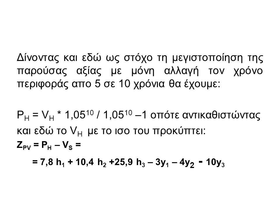 Δίνοντας και εδώ ως στόχο τη μεγιστοποίηση της παρούσας αξίας με μόνη αλλαγή τον χρόνο περιφοράς απο 5 σε 10 χρόνια θα έχουμε: P H = V H * 1,05 10 / 1