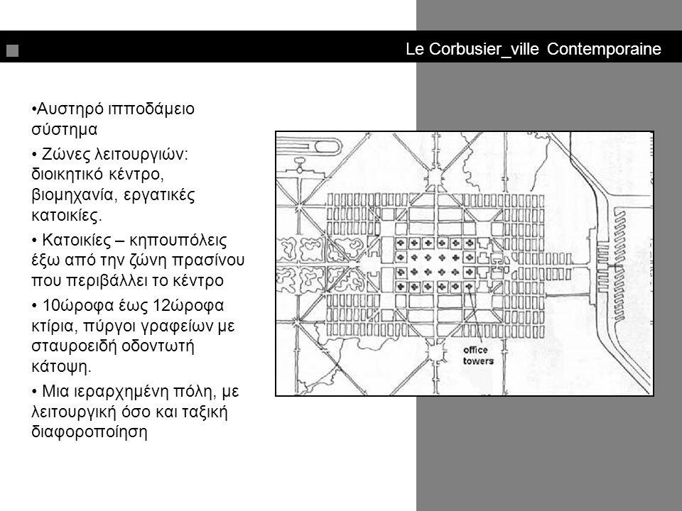 Le Corbusier_ville Contemporaine Αυστηρό ιπποδάμειο σύστημα Ζώνες λειτουργιών: διοικητικό κέντρο, βιομηχανία, εργατικές κατοικίες. Κατοικίες – κηπουπό