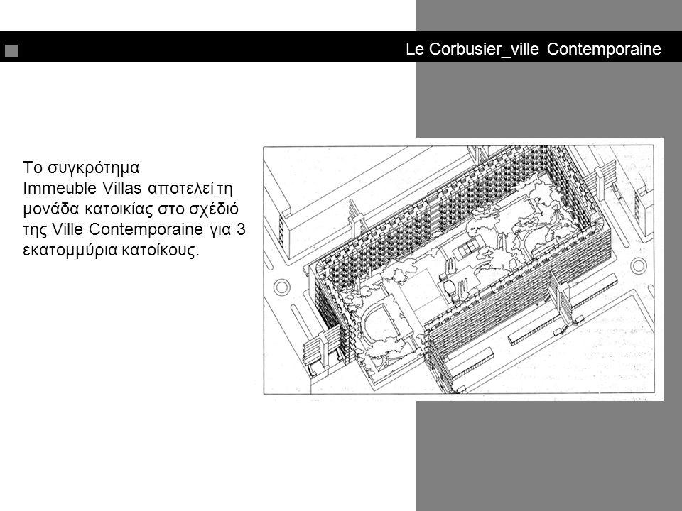 Le Corbusier_ville Contemporaine Διόροφες κατοικίες με βεράντα που αναπτύσσονται σε 12 ορόφους.