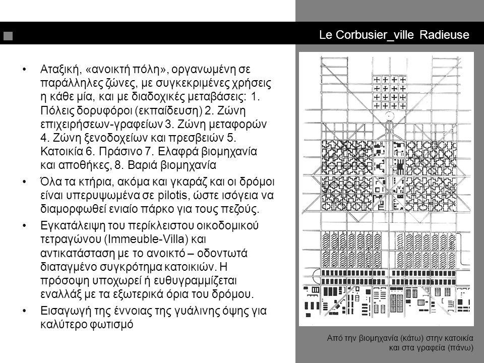 Le Corbusier_ville Radieuse Αταξική, «ανοικτή πόλη», οργανωμένη σε παράλληλες ζώνες, με συγκεκριμένες χρήσεις η κάθε μία, και με διαδοχικές μεταβάσεις