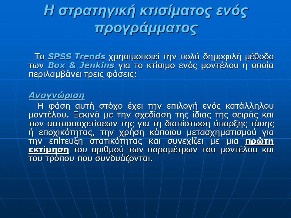 Η στρατηγική κτισίματος ενός προγράμματος Το SPSS Trends χρησιμοποιεί την πολύ δημοφιλή μέθοδο των Box & Jenkins για το κτίσιμο ενός μοντέλου η οποία περιλαμβάνει τρεις φάσεις: Το SPSS Trends χρησιμοποιεί την πολύ δημοφιλή μέθοδο των Box & Jenkins για το κτίσιμο ενός μοντέλου η οποία περιλαμβάνει τρεις φάσεις: Αναγνώριση Αναγνώριση Η φάση αυτή στόχο έχει την επιλογή ενός κατάλληλου μοντέλου.