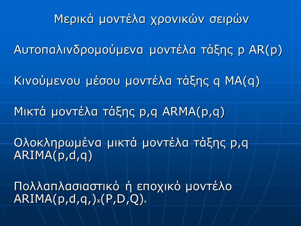 Μερικά μοντέλα χρονικών σειρών Αυτοπαλινδρομούμενα μοντέλα τάξης p AR(p) Κινούμενου μέσου μοντέλα τάξης q MA(q) Μικτά μοντέλα τάξης p,q ARMA(p,q) Ολοκληρωμένα μικτά μοντέλα τάξης p,q ARIMA(p,d,q) Πολλαπλασιαστικό ή εποχικό μοντέλο ARIMA(p,d,q,) x (P,D,Q) s