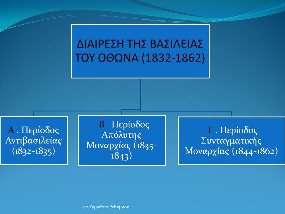 ΔΙΑΙΡΕΣΗ ΤΗΣ ΒΑΣΙΛΕΙΑΣ ΤΟΥ ΟΘΩΝΑ (1832-1862) Α.Περίοδος Αντιβασιλείας (ι832-1835) Β.