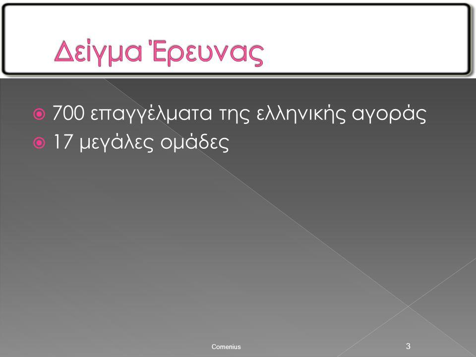  700 επαγγέλματα της ελληνικής αγοράς  17 μεγάλες ομάδες Comenius 3