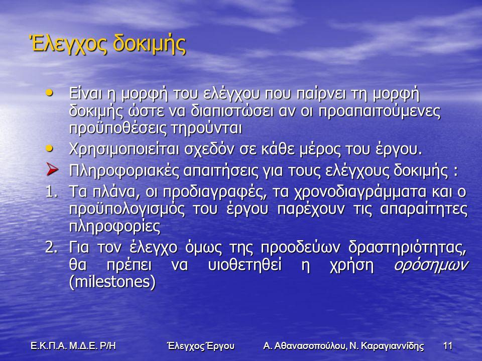 11Ε.Κ.Π.Α. Μ.Δ.Ε. Ρ/Η Έλεγχος Έργου Α. Αθανασοπούλου, Ν.