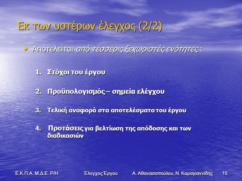 15Ε.Κ.Π.Α. Μ.Δ.Ε. Ρ/Η Έλεγχος Έργου Α. Αθανασοπούλου, Ν.