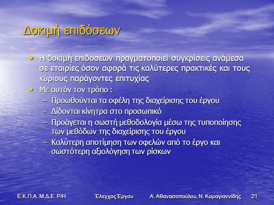 21Ε.Κ.Π.Α. Μ.Δ.Ε. Ρ/Η Έλεγχος Έργου Α. Αθανασοπούλου, Ν.