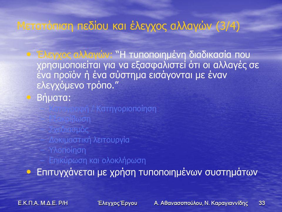 33Ε.Κ.Π.Α. Μ.Δ.Ε. Ρ/Η Έλεγχος Έργου Α. Αθανασοπούλου, Ν.