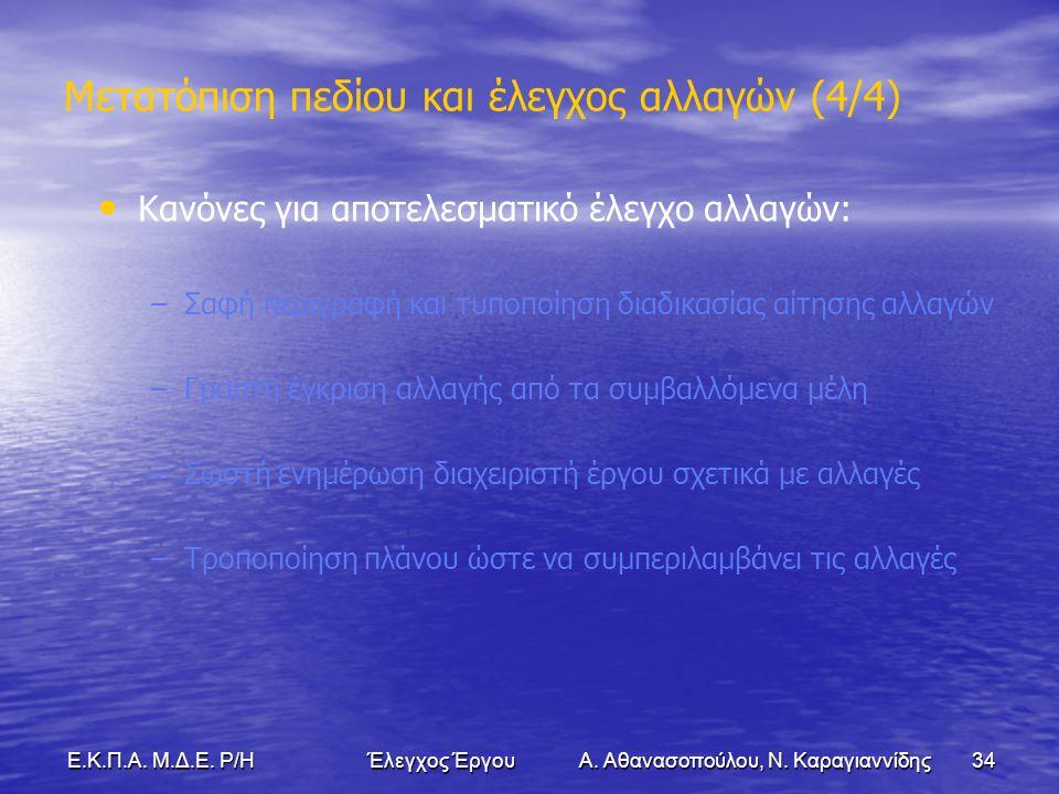 34Ε.Κ.Π.Α. Μ.Δ.Ε. Ρ/Η Έλεγχος Έργου Α. Αθανασοπούλου, Ν.