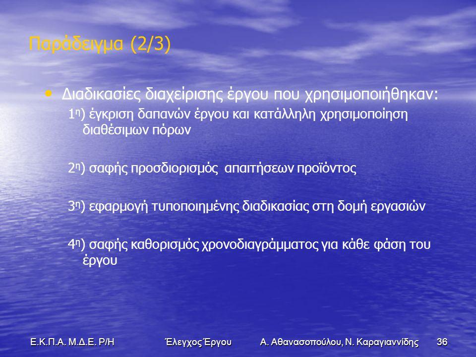 36Ε.Κ.Π.Α. Μ.Δ.Ε. Ρ/Η Έλεγχος Έργου Α. Αθανασοπούλου, Ν.