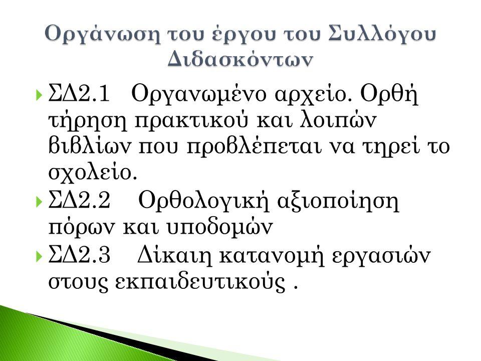  ΣΔ2.1 Οργανωμένο αρχείο. Ορθή τήρηση πρακτικού και λοιπών βιβλίων που προβλέπεται να τηρεί το σχολείο.  ΣΔ2.2 Ορθολογική αξιοποίηση πόρων και υποδο