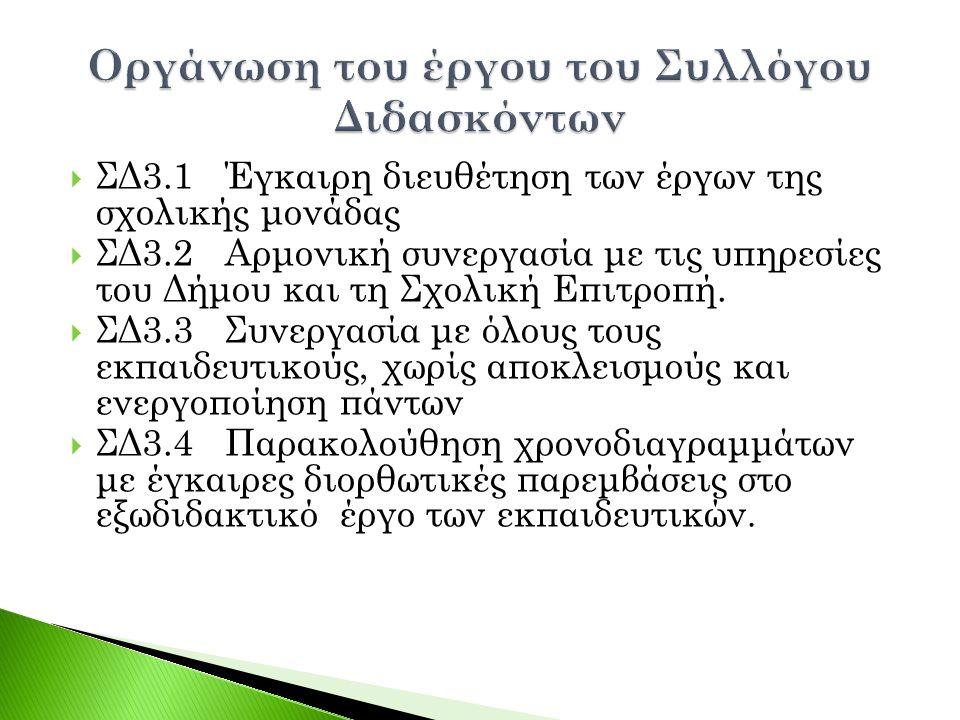  ΣΔ3.1 Έγκαιρη διευθέτηση των έργων της σχολικής μονάδας  ΣΔ3.2 Αρμονική συνεργασία με τις υπηρεσίες του Δήμου και τη Σχολική Επιτροπή.  ΣΔ3.3 Συνε