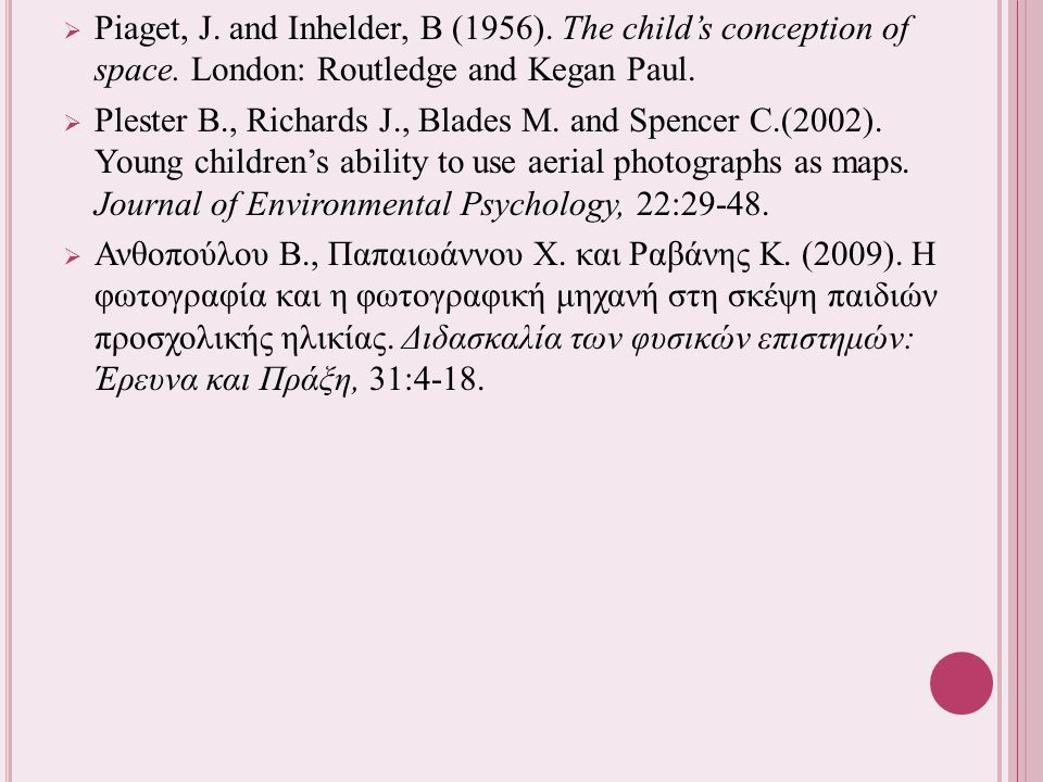  Piaget, J. and Inhelder, B (1956). The child's conception of space. London: Routledge and Kegan Paul.  Plester B., Richards J., Blades M. and Spenc
