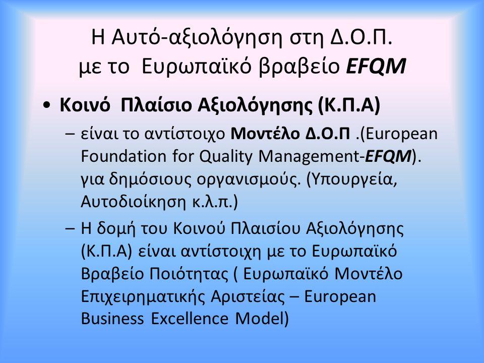 Η Αυτό-αξιολόγηση στη Δ.Ο.Π. με το Ευρωπαϊκό βραβείο EFQM Κοινό Πλαίσιο Αξιολόγησης (Κ.Π.Α) –είναι το αντίστοιχο Μοντέλο Δ.Ο.Π.(European Foundation fo