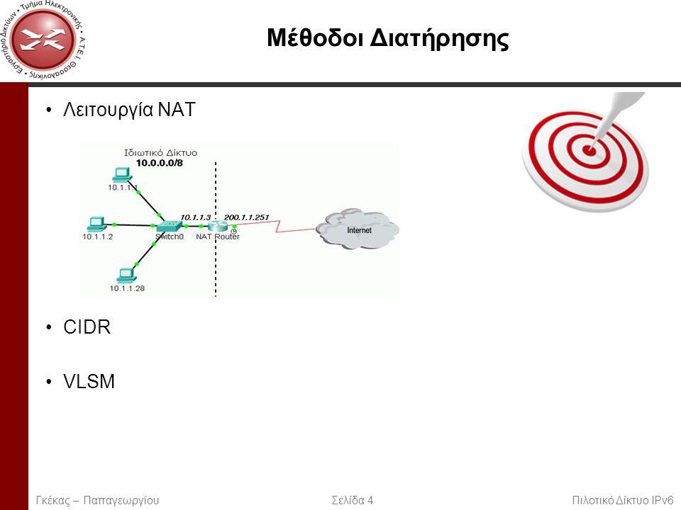 Page 4 Μέθοδοι Διατήρησης Λειτουργία NAT CIDR VLSM Γκέκας – Παπαγεωργίου Σελίδα 4 Πιλοτικό Δίκτυο IPv6