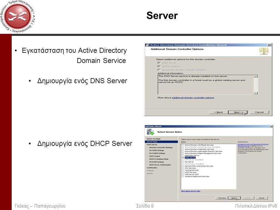Page 9 Server Εγκατάσταση του Active Directory Domain Service Δημιουργία ενός DNS Server Δημιουργία ενός DHCP Server Γκέκας – Παπαγεωργίου Σελίδα 9 Πιλοτικό Δίκτυο IPv6