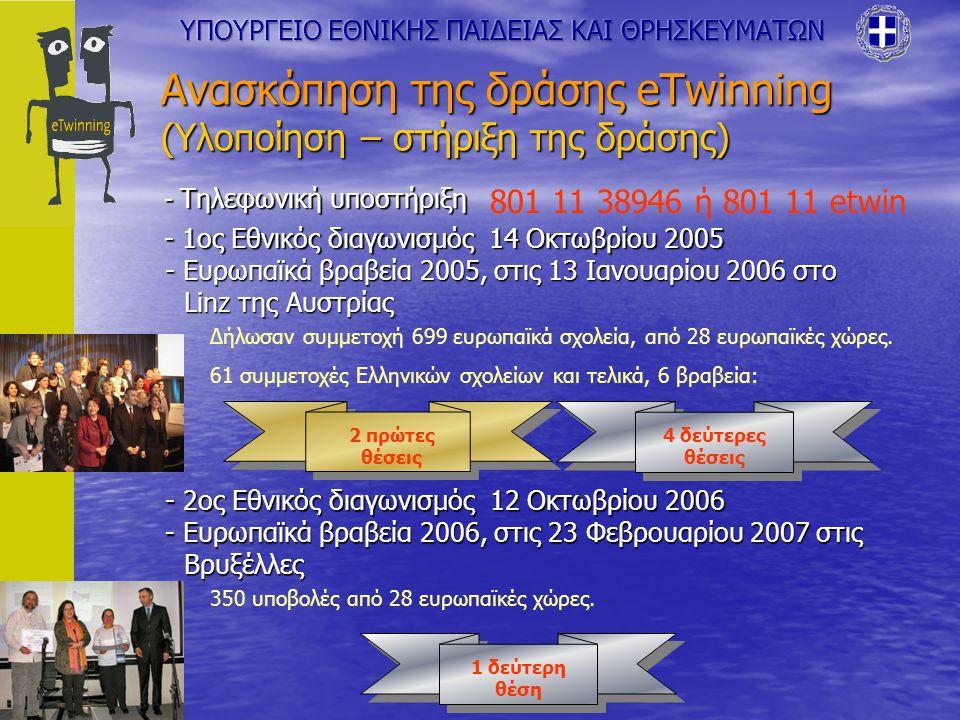 Ανασκόπηση της δράσης eTwinning (Υλοποίηση – στήριξη της δράσης) - 1ος Εθνικός διαγωνισμός 14 Οκτωβρίου 2005 - Τηλεφωνική υποστήριξη 801 11 38946 ή 801 11 etwin - Ευρωπαϊκά βραβεία 2005, στις 13 Ιανουαρίου 2006 στο Linz της Αυστρίας Δήλωσαν συμμετοχή 699 ευρωπαϊκά σχολεία, από 28 ευρωπαϊκές χώρες.