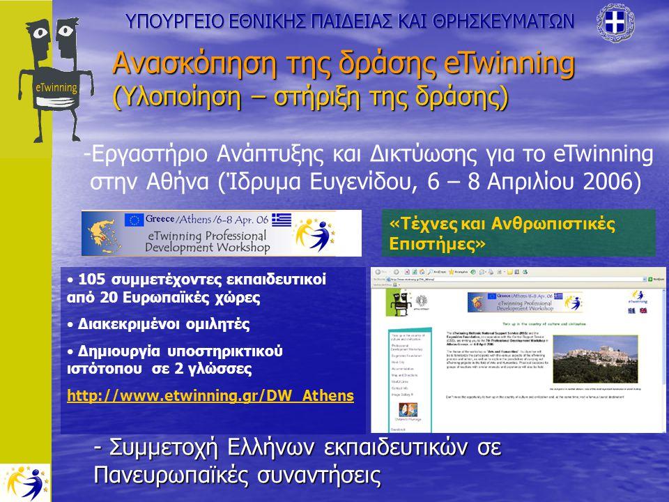 - Συμμετοχή Ελλήνων εκπαιδευτικών σε Πανευρωπαϊκές συναντήσεις Ανασκόπηση της δράσης eTwinning (Υλοποίηση – στήριξη της δράσης) -Εργαστήριο Ανάπτυξης και Δικτύωσης για το eTwinning στην Αθήνα (Ίδρυμα Ευγενίδου, 6 – 8 Απριλίου 2006) 105 συμμετέχοντες εκπαιδευτικοί από 20 Ευρωπαϊκές χώρες Διακεκριμένοι ομιλητές Δημιουργία υποστηρικτικού ιστότοπου σε 2 γλώσσες http://www.etwinning.gr/DW_Athens «Τέχνες και Ανθρωπιστικές Επιστήμες»