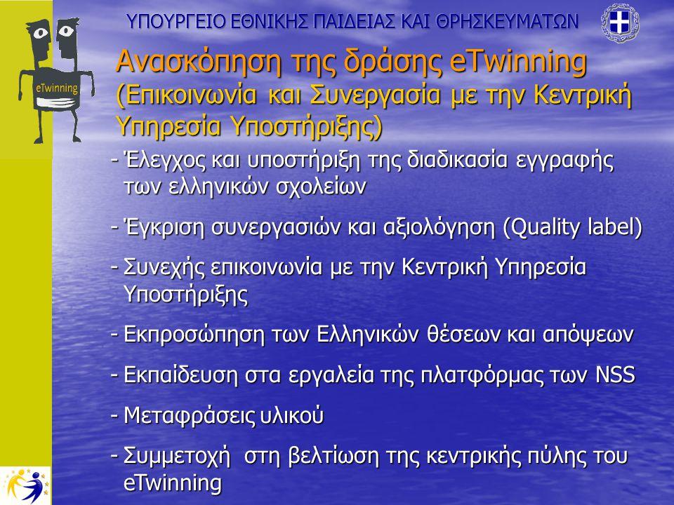 Ανασκόπηση της δράσης eTwinning (Επικοινωνία και Συνεργασία με την Κεντρική Υπηρεσία Υποστήριξης) -Έλεγχος και υποστήριξη της διαδικασία εγγραφής των ελληνικών σχολείων -Έγκριση συνεργασιών και αξιολόγηση (Quality label) -Συνεχής επικοινωνία με την Κεντρική Υπηρεσία Υποστήριξης -Εκπροσώπηση των Ελληνικών θέσεων και απόψεων -Εκπαίδευση στα εργαλεία της πλατφόρμας των NSS -Μεταφράσεις υλικού -Συμμετοχή στη βελτίωση της κεντρικής πύλης του eTwinning