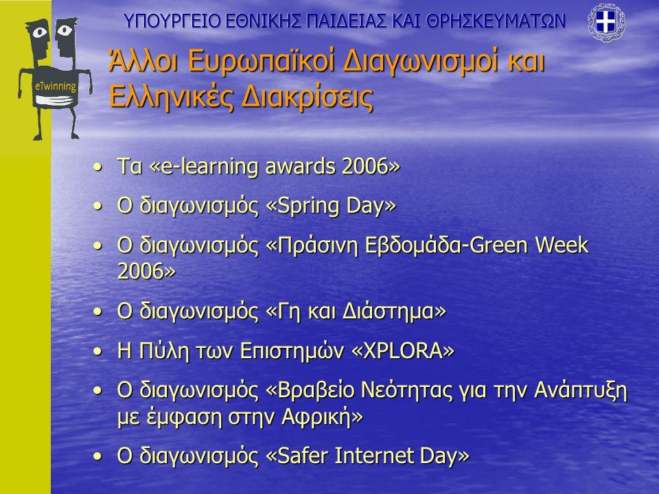 Άλλοι Ευρωπαϊκοί Διαγωνισμοί και Ελληνικές Διακρίσεις Τα «e-learning awards 2006»Τα «e-learning awards 2006» Ο διαγωνισμός «Spring Day»Ο διαγωνισμός «Spring Day» Ο διαγωνισμός «Πράσινη Εβδομάδα-Green Week 2006»Ο διαγωνισμός «Πράσινη Εβδομάδα-Green Week 2006» Ο διαγωνισμός «Γη και Διάστημα»Ο διαγωνισμός «Γη και Διάστημα» Η Πύλη των Επιστημών «XPLORA»Η Πύλη των Επιστημών «XPLORA» Ο διαγωνισμός «Βραβείο Νεότητας για την Ανάπτυξη με έμφαση στην Αφρική»Ο διαγωνισμός «Βραβείο Νεότητας για την Ανάπτυξη με έμφαση στην Αφρική» Ο διαγωνισμός «Safer Internet Day»Ο διαγωνισμός «Safer Internet Day»
