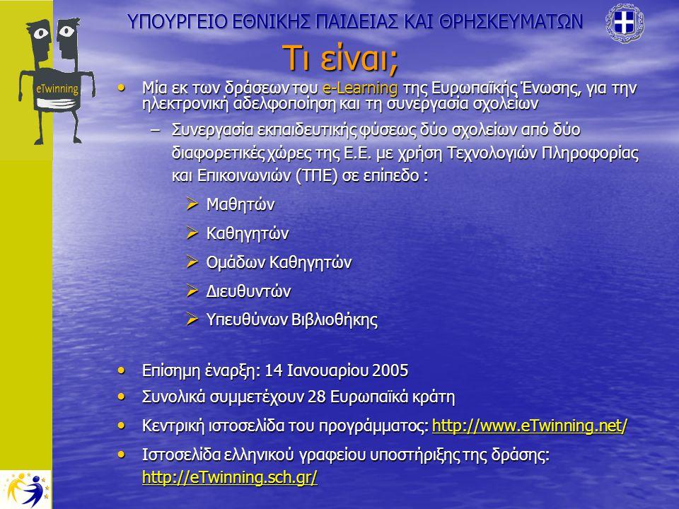 Τι είναι; Μία εκ των δράσεων του e-Learning της Ευρωπαϊκής Ένωσης, για την ηλεκτρονική αδελφοποίηση και τη συνεργασία σχολείων Μία εκ των δράσεων του e-Learning της Ευρωπαϊκής Ένωσης, για την ηλεκτρονική αδελφοποίηση και τη συνεργασία σχολείων –Συνεργασία εκπαιδευτικής φύσεως δύο σχολείων από δύο διαφορετικές χώρες της Ε.Ε.