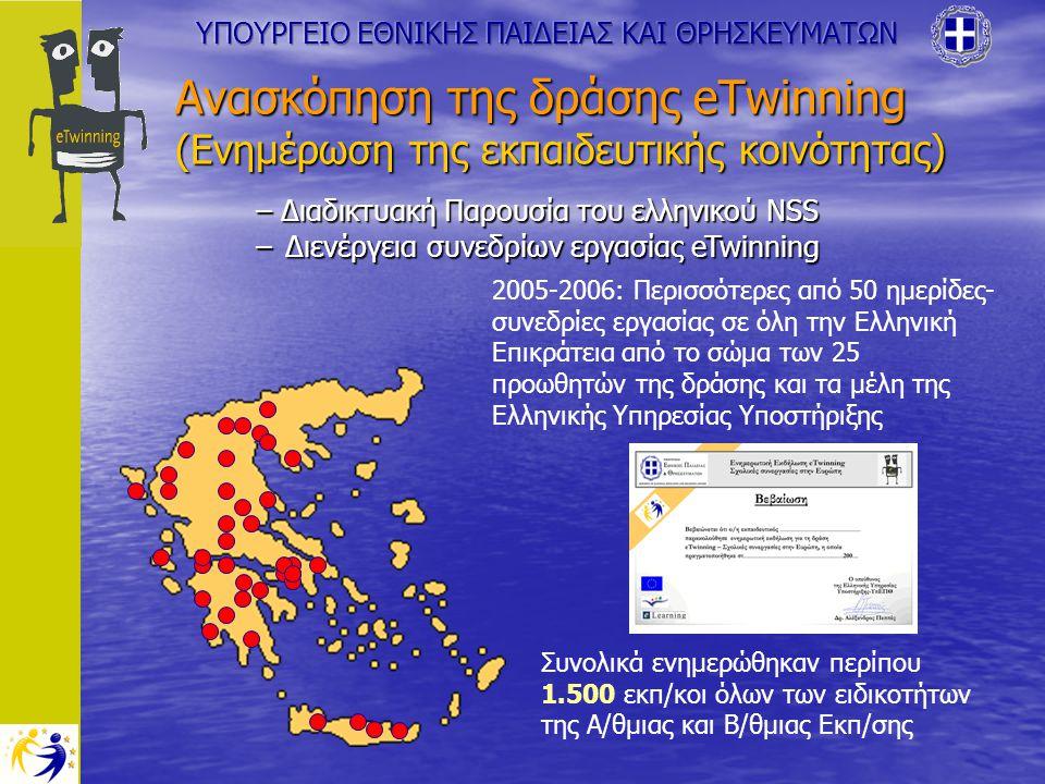 Ανασκόπηση της δράσης eTwinning (Ενημέρωση της εκπαιδευτικής κοινότητας) – Διαδικτυακή Παρουσία του ελληνικού NSS –Διενέργεια συνεδρίων εργασίας eTwinning 2005-2006: Περισσότερες από 50 ημερίδες- συνεδρίες εργασίας σε όλη την Ελληνική Επικράτεια από το σώμα των 25 προωθητών της δράσης και τα μέλη της Ελληνικής Υπηρεσίας Υποστήριξης Συνολικά ενημερώθηκαν περίπου 1.500 εκπ/κοι όλων των ειδικοτήτων της Α/θμιας και Β/θμιας Εκπ/σης