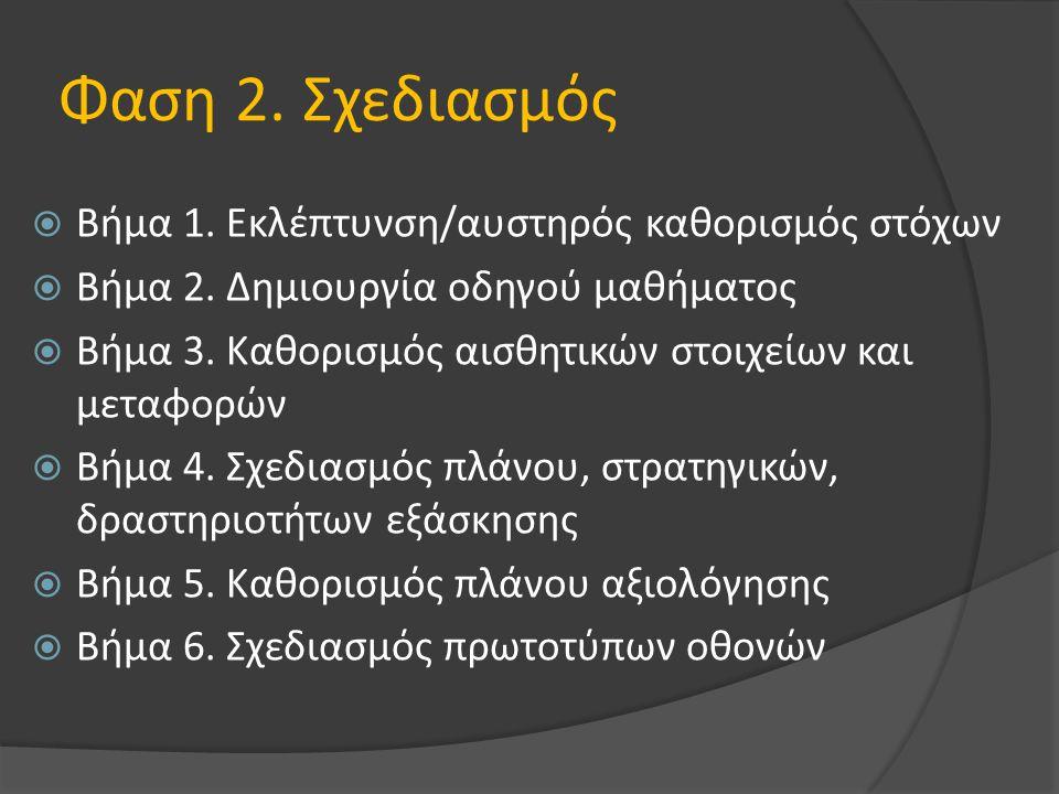 Φαση 2. Σχεδιασμός  Βήμα 1. Εκλέπτυνση/αυστηρός καθορισμός στόχων  Βήμα 2.