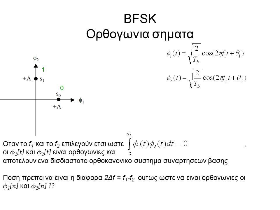 BFSK Ορθογωνια σηματα Οταν το f 1 και το f 2 επιλεγούν ετσι ωστε, οι φ 1 [t] και φ 2 [t] ειναι ορθογωνιες και αποτελουν ενα δισδιαστατο ορθοκανονικο σ