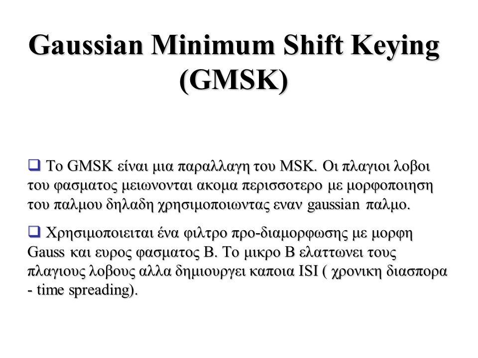 Gaussian Minimum Shift Keying (GMSK)  Το GMSK είναι μια παραλλαγη του MSK. Οι πλαγιοι λοβοι του φασματος μειωνονται ακομα περισσοτερο με μορφοποιηση