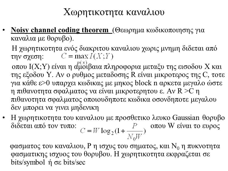 Χωρητικοτητα καναλιου Noisy channel coding theorem (Θεωρημα κωδικοποιησης για καναλια με θορυβο). Η χωρητικοτητα ενός διακριτου καναλιου χωρις μνημη δ
