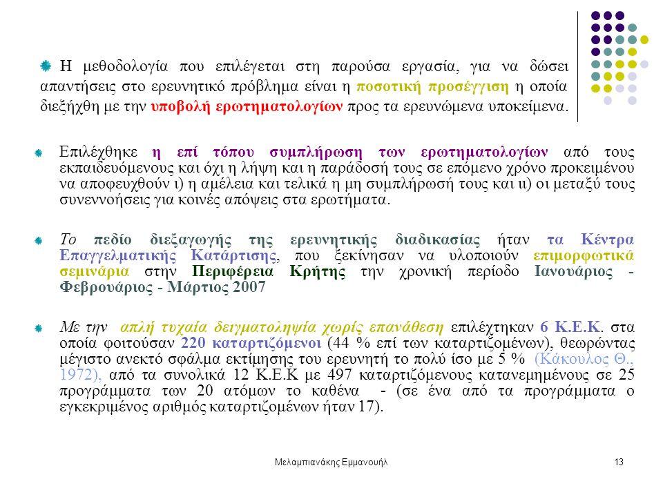 Μελαμπιανάκης Εμμανουήλ13 Η μεθοδολογία που επιλέγεται στη παρούσα εργασία, για να δώσει απαντήσεις στο ερευνητικό πρόβλημα είναι η ποσοτική προσέγγισ