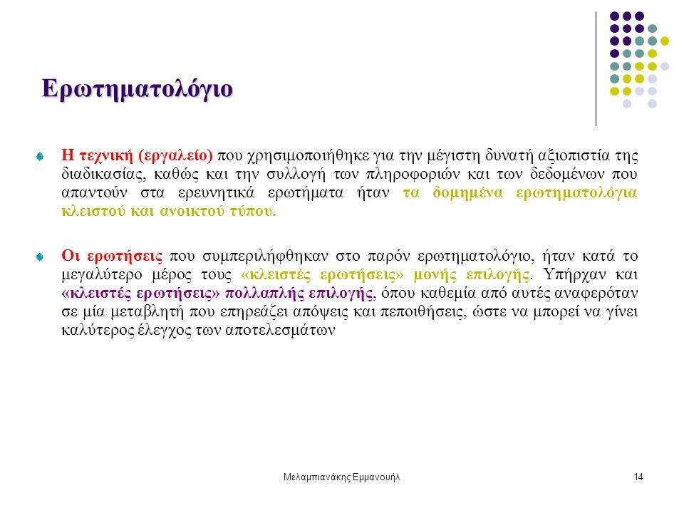 Μελαμπιανάκης Εμμανουήλ14 Ερωτηματολόγιο Η τεχνική (εργαλείο) που χρησιμοποιήθηκε για την μέγιστη δυνατή αξιοπιστία της διαδικασίας, καθώς και την συλ