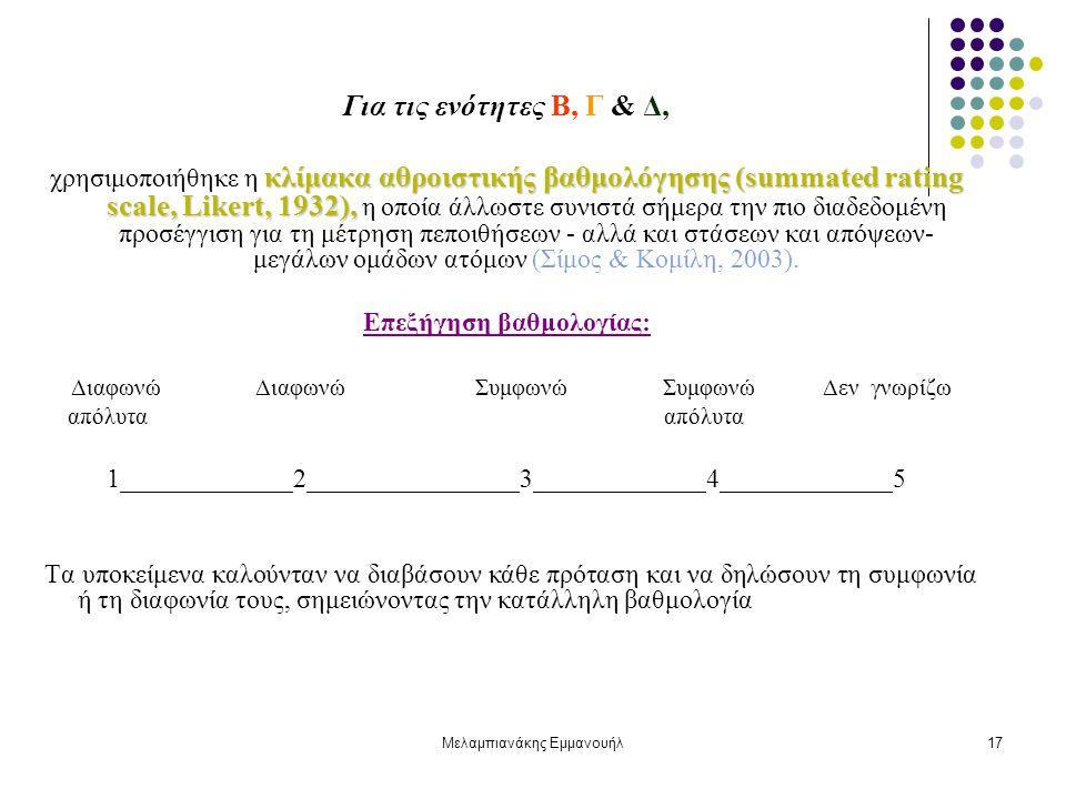 Μελαμπιανάκης Εμμανουήλ17 Για τις ενότητες Β, Γ & Δ, κλίμακα αθροιστικής βαθμολόγησης (summated rating scale, Likert, 1932), χρησιμοποιήθηκε η κλίμακα