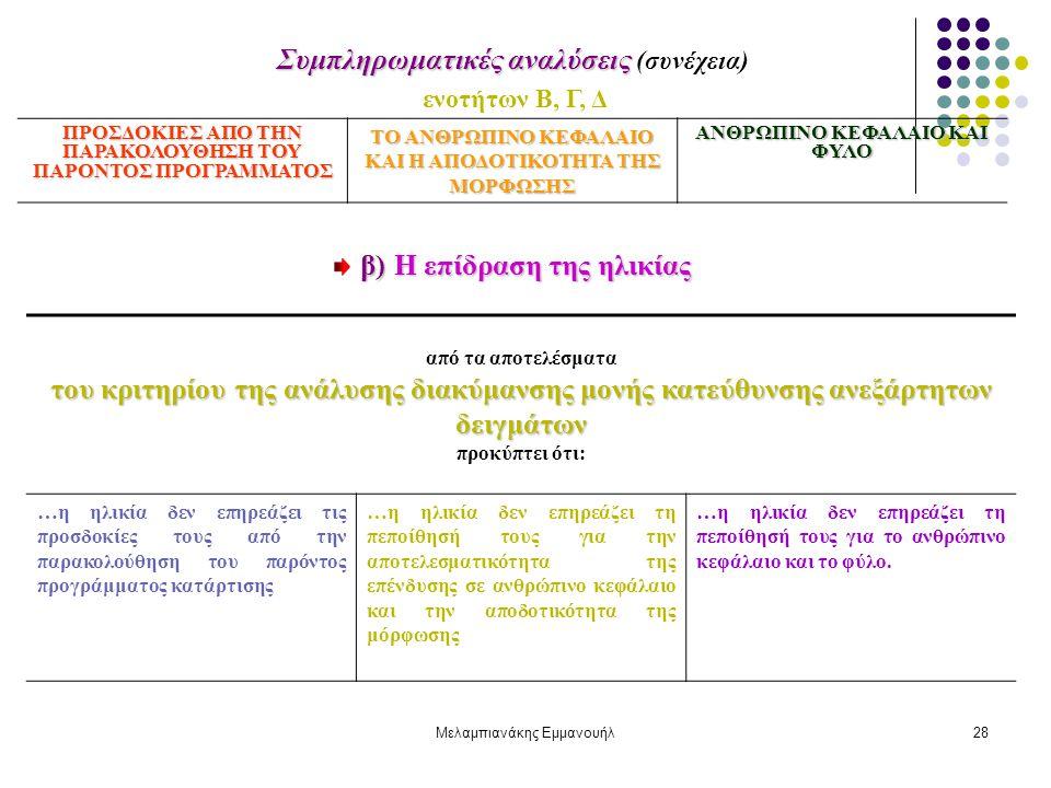 Μελαμπιανάκης Εμμανουήλ28 Συμπληρωματικές αναλύσεις Συμπληρωματικές αναλύσεις (συνέχεια) ενοτήτων Β, Γ, Δ ΠΡΟΣΔΟΚΙΕΣ ΑΠΟ ΤΗΝ ΠΑΡΑΚΟΛΟΥΘΗΣΗ ΤΟΥ ΠΑΡΟΝΤΟ