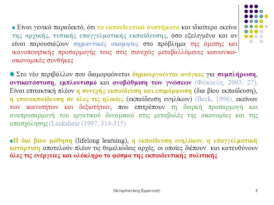 Μελαμπιανάκης Εμμανουήλ6 Στο νέο περιβάλλον που διαμορφώνεται δημιουργούνται ανάγκες για συμπλήρωση, αντικατάσταση, εμπλουτισμό και αναβάθμιση των γνώσεων (Φώκιαλη, 2003: 27).