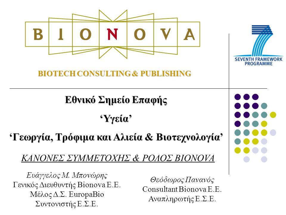 BIOTECH CONSULTING & PUBLISHING Εθνικό Σημείο Επαφής 'Υγεία' 'Γεωργία, Τρόφιμα και Αλιεία & Βιοτεχνολογία' ΚΑΝΟΝΕΣ ΣΥΜΜΕΤΟΧΗΣ & ΡΟΛΟΣ BIONOVA Ευάγγελος Μ.