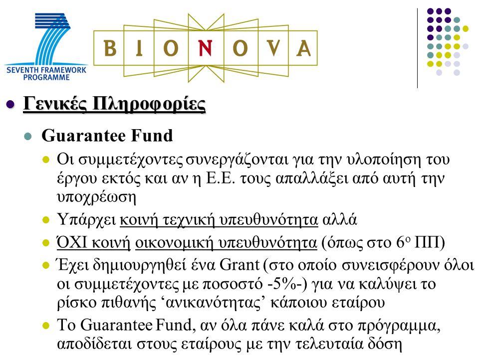 Γενικές Πληροφορίες Γενικές Πληροφορίες Guarantee Fund Οι συμμετέχοντες συνεργάζονται για την υλοποίηση του έργου εκτός και αν η Ε.Ε.