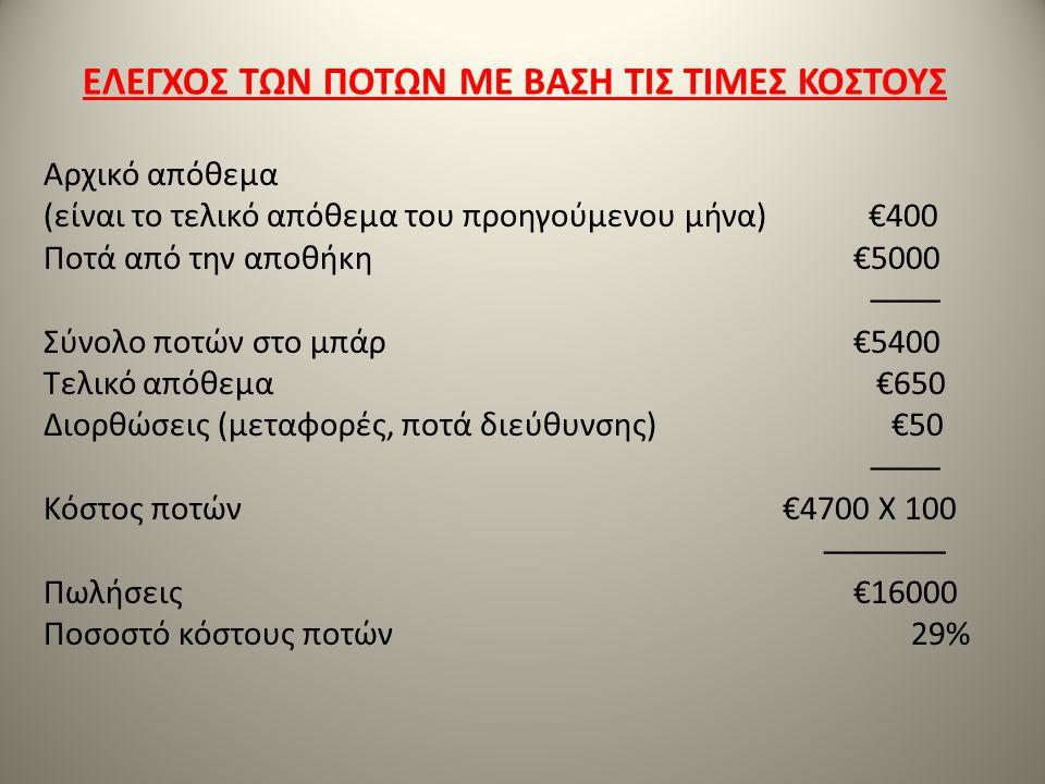 Αρχικό απόθεμα (είναι το τελικό απόθεμα του προηγούμενου μήνα) €400 Ποτά από την αποθήκη €5000 ──── Σύνολο ποτών στο μπάρ €5400 Τελικό απόθεμα €650 Δι