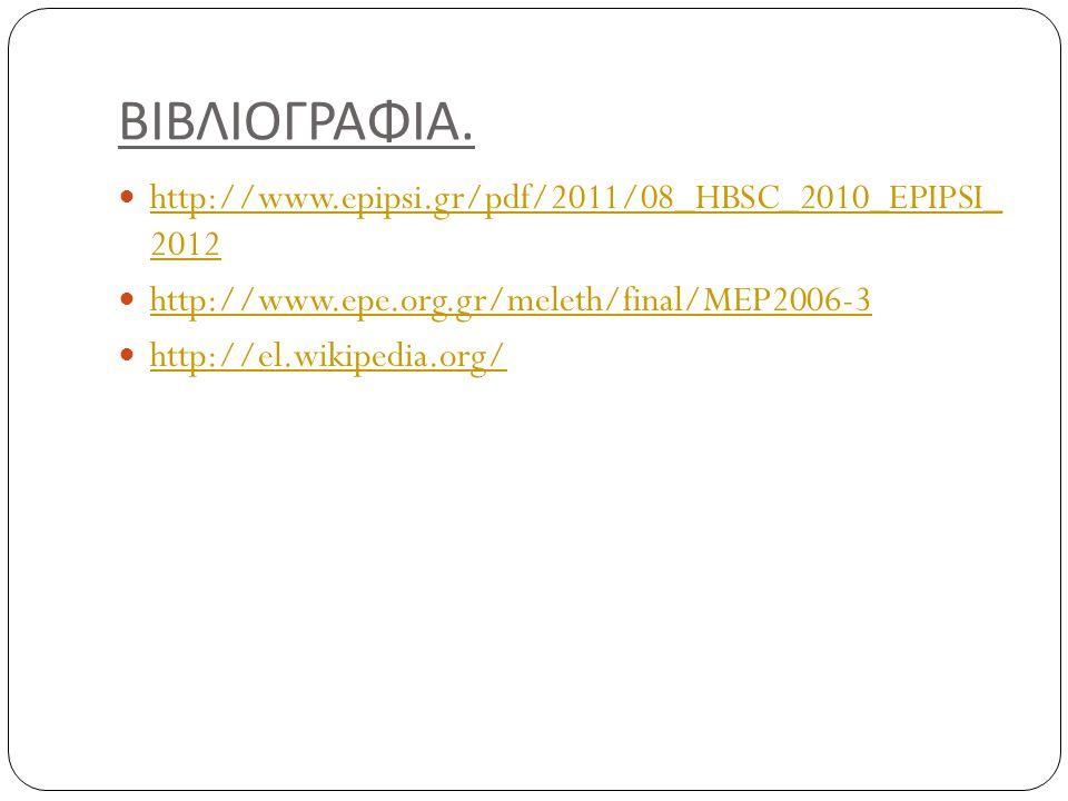 ΒΙΒΛΙΟΓΡΑΦΙΑ. http://www.epipsi.gr/pdf/2011/08_HBSC_2010_EPIPSI_ 2012 http://www.epipsi.gr/pdf/2011/08_HBSC_2010_EPIPSI_ 2012 http://www.epe.org.gr/me